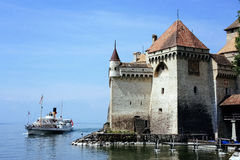Chillon,瑞士城堡  免版税库存图片