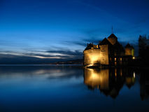 Chillon Castle 09, night, Switzerland stock photo