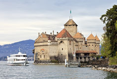 Chillon castle on the Geneva lake Royalty Free Stock Photo