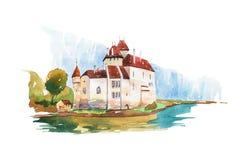 Chillon Castle at Geneva lake famous landmarks travel and tourism waercolor illustration Royalty Free Stock Photo