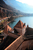 Chillon Castle and Lake Geneva Stock Images