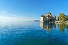 Chillon Castle on Lake Geneva in Alps mountains, Montreux, Switz royalty free stock photos