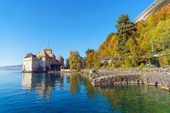 Chillon Castle on Lake Geneva in Alps mountains, Montreux, Switz stock image