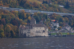 Chillon Castle and lake Geneva near resort of Montreux, Switzerland Royalty Free Stock Photo