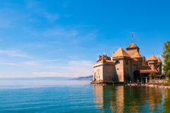 Chillon castle, Medieval fortress on the shores of Lake Geneva Royalty Free Stock Photos