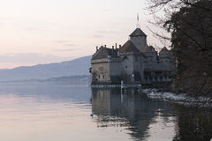 Chillon castle in Montreux city on Geneva lake in Switzerland Stock Photography