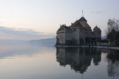 Chillon castle in Montreux city on Geneva lake in Switzerland Royalty Free Stock Images