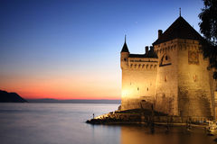 The Chillon castle in Montreux, Switzerland stock photos