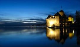 Chillon Castle night, Switzerland royalty free stock image