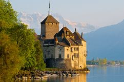 Chillon Castle and the Swiss Alps Stock Photos