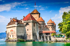 Chillon Castle, Switzerland - Lake Geneve. Chillon Castle, Switzerland. Montreaux, Lake Geneve, one of the most visited castle in Swiss, attracts more than 300 Royalty Free Stock Photography