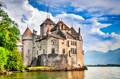 Chillon Castle, Switzerland - Lake Geneve. Chillon Castle, Switzerland. Montreaux, Lake Geneve, one of the most visited castle in Swiss, attracts more than 300 Royalty Free Stock Photo