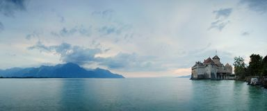 Chillon Castle, Switzerland. Montreaux, Lake Geneve, one of the most visited castle in Swiss, attracts more than 300,000 visitors. stock images