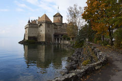Chillon Castle. SWITZERLAND - NOVEMBER 06, 2014: View of , one of the most visited castles in Switzerland and Europe, from the promenade with a special place Stock Photos