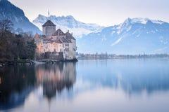 Chillon et Lac Léman de château photo stock