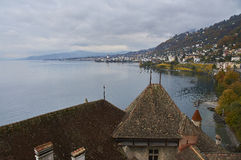 Chillon`s view. A view of Montreux and Lake Geneva from the keep of Chillon Castle Stock Photography