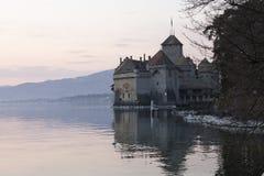 Chillon-Schloss in Montreux-Stadt auf Geneva See in der Schweiz Stockfotografie