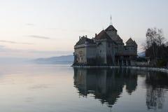 Chillon-Schloss in Montreux-Stadt auf Geneva See in der Schweiz Lizenzfreies Stockbild