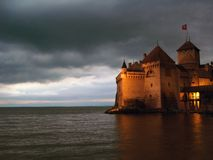 Chillon Schlossnacht 07, CH Lizenzfreies Stockbild