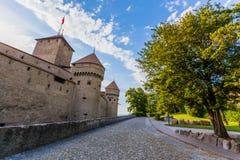 Chillon slott på Geneva laken, Schweitz Arkivfoto