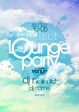 Chillout lounge party poster with sky backdrop. Stock Photography