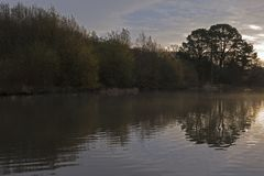 A chilly autumn morning at the Ornamental Pond, Southampton Common stock photos