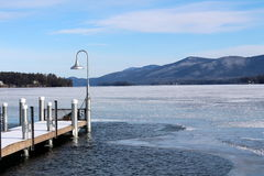 Chilly day of ice and snow on the lake Royalty Free Stock Photo