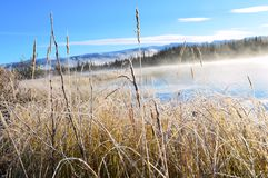 A chilly morning at Boya Lake Provincial Park Royalty Free Stock Photography
