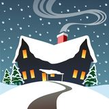 Chilly night with warm cabin. Winter cabin, snowy evening, warm inside. Christmas scene vector illustration
