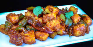 Chilly Paneer. (cottage cheese/tofu stock image