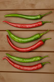 Chilly pepper on wood background stock image