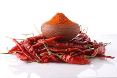 Chilly powder. With red hot chilly stock images