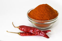 Chilly powder with red chilly, dried chilies Stock Photography