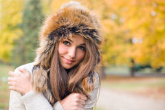 Chilly weather... Portrait of gorgeous young model dressed up for chilly weather royalty free stock image