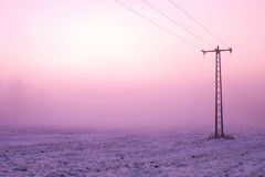 Chilly windy morning on the meadow. Old iron electric pole in countryside with the pink sky. Stock Image