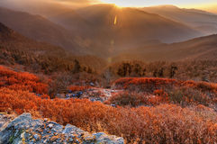 Chilly winter sunrise at Lunhgthang, Sikkim, West Bengal, India Stock Images