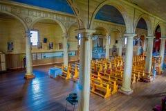 CHILOE, CHILE - SEPTEMBER, 27, 2018: Innenansicht der hölzernen gemachten Kirche in Chonchi, Chiloe-Insel in Chile Nuestra stockfotos