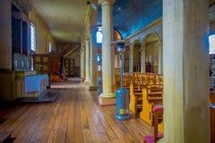 CHILOE, CHILE - SEPTEMBER, 27, 2018: Innenansicht der Kirche in Chonchi, Chiloe-Insel in Chile Nuestra Senora del lizenzfreie stockfotografie