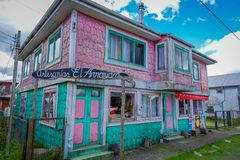 CHILOE, CHILE - SEPTEMBER, 27, 2018: Outdoor beautiful wooden buildings in Chacao in Chilean mainland stock photography