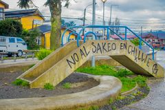 CHILOE, CHILE - SEPTEMBER, 27, 2018: Outdoor view of small bridge with some words written in Castro, Chiloe Island stock image