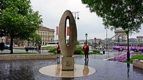 Chilometro zero nel centro di Budapest Fotografie Stock Libere da Diritti