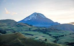 Chimborazo volcano at dawn. On a sunny day Stock Photos