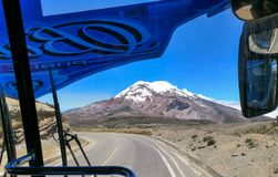 Chimborazo volcano, from inside bus window