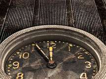 Chime. Clock. Watch mechanism on the old grungy metal background stock images