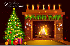 Chimenea adornada de la casa para la celebración del día de fiesta de la Feliz Navidad ilustración del vector