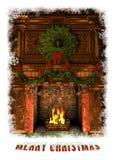 Chimenea adornada para la Navidad, 3d CG Fotografía de archivo