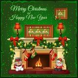 Chimenea ardiente de la Navidad en un fondo verde ilustración del vector
