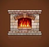 Chimenea casera Hogar de la Navidad con el fuego stock de ilustración