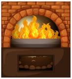 Chimenea con el fuego y el bosque ilustración del vector
