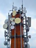 Chimenea con las antenas Imágenes de archivo libres de regalías